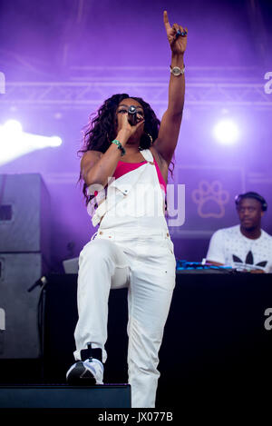 BARCELONA - JUN 16: Lady Leshurr (rapper, singer and producer) performs in concert at Sonar Festival on June 16, - Stock Photo