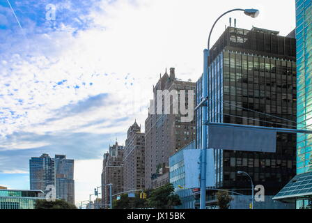 New York, USA - 26 September 2016: Buildings lining First Avenue looking toward lower Manhattan from 44th Street - Stock Photo