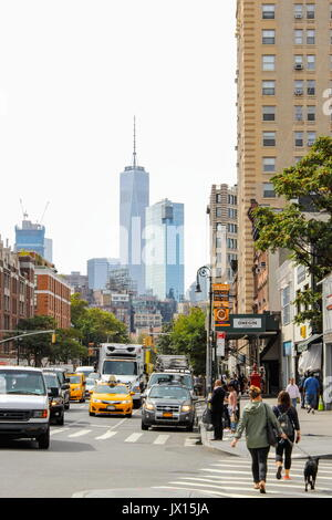 New York, USA - 27 September 2016: Busy Greenwich Village - Greenwich Village is a neighborhood on the west side - Stock Photo