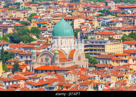 Above view of the Great Synagogue of Florence (Sinagoga e Museo Ebraico).Synagogue in the historic center of Florence. - Stock Photo
