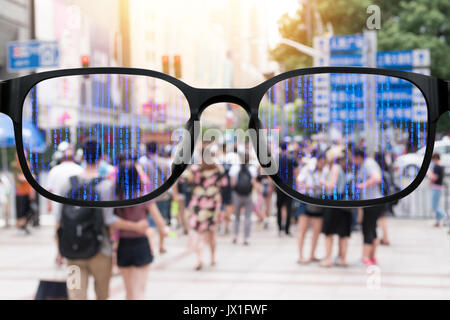 Augmented reality , smart AR glasses technology , smart city , internet of things concept. Customer using AR application - Stock Photo