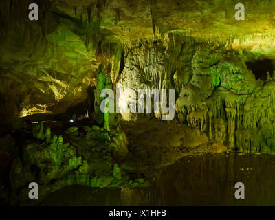 Prometheus Cave a Natural Monument on the outskirts of Kutaisi in Georgia is a natural wonder enhanced with colourful - Stock Photo