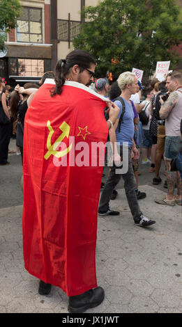 New York, United States. 13th Aug, 2017. Few hundreds socialist demonstrators attend rally against nationalist protest - Stock Photo