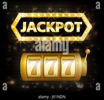 Jackpot casino lotto label background sign. Casino jackpot 777 gamble winner with text shining symbol isolated on - Stock Photo