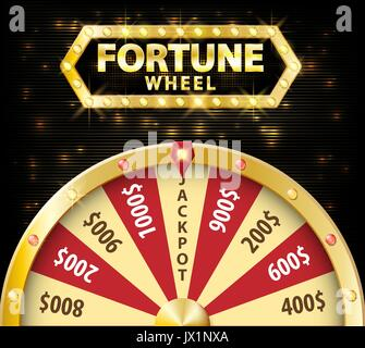 Gold realistic wheel of fortune 3d object isolated on dark background with place for text. lucky roulette vector - Stock Photo