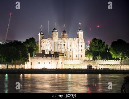 White Tower, Tower of London, night shot, London, England, United Kingdom - Stock Photo