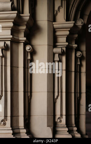 Arcade columns and decorations of Casa de Balboa  in Balboa Park, San Diego, California showing architectural features - Stock Photo