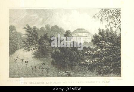 The Coliseum and Part of the Lake, Regent's Park   Shepherd, Metropolitan Improvements (1828), p205 - Stock Photo