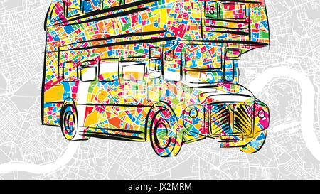 Handdrawn London Bus in colorful urban city map, beautiful Travel Landmark Icon for printed greeting cards and social - Stock Photo
