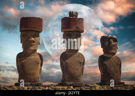 A statue on Easter Island or Rapa Nui in the southeastern Pacific, the territory of Chile. - Stock Photo