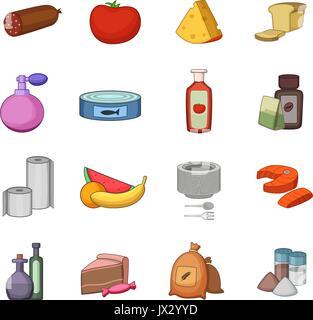 Supermarket department icons set, cartoon style - Stock Photo