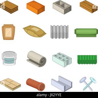 Building material icons set, cartoon style - Stock Photo