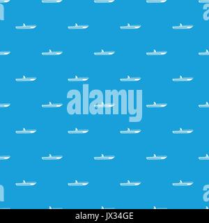 Motor speed boat pattern seamless blue - Stock Photo