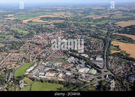 aerial view of Ripon city, North Yorkshire, UK - Stock Photo