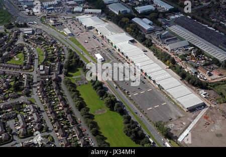 aerial view of Warrington Junction 9 Retail Park & Alban Retail Park UK - Stock Photo