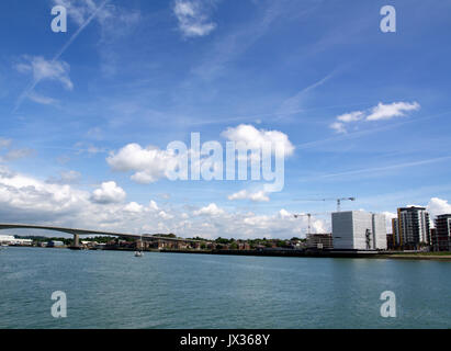 View of Centenary Quay development in Woolston, Southampton, looking across River Itchen from Ocean Village showing - Stock Photo