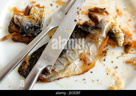 mackerel fish skins on white plate - Stock Photo
