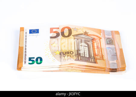 Pills Of Bills Paper 50 Euro Banknotes On White Background Symbol