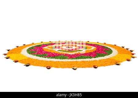 Flower Rangoli Designs With Diyas For Diwali Festival India Asia - Stock Photo