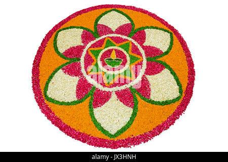 Flower Rangoli Designs Decoration For Diwali Indian Festival - Stock Photo