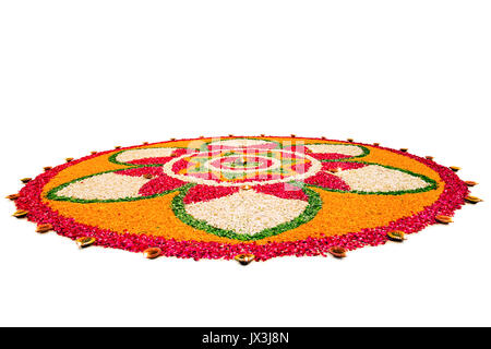 Flower Rangoli Designs For Diwali Festival India Asia - Stock Photo