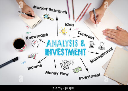 Analysis and Investment Concept. Chart with keywords and icons. - Stock Photo