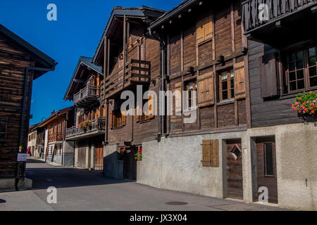 traditional alpine log buildings at La fouly in the swiss alps switzerland - Stock Photo