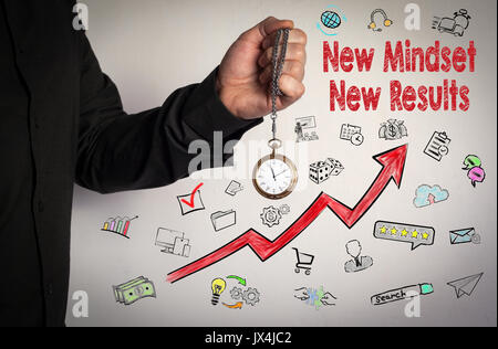 New Mindset New Results concept. Red Arrow and Icons Around. Man holding chain clock on white background. - Stock Photo
