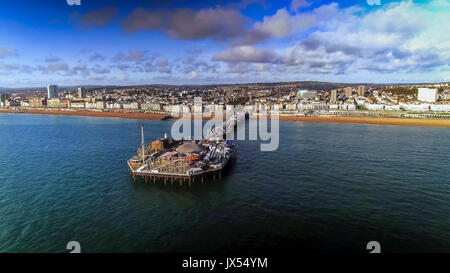 Aerial View Of Pier And Beach In Brighton East Sussex England UK - Stock Photo