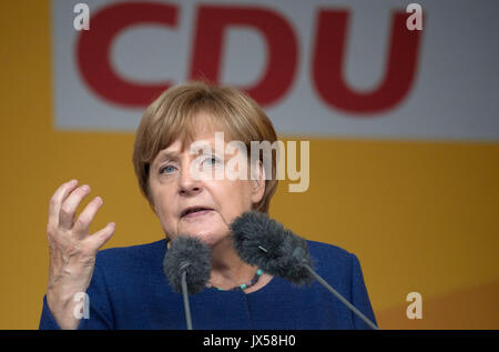 Gelnhausen, Germany. 14th Aug, 2017. German Chancellor Angela Merkel (CDU) speaks during a campaign appearance in - Stock Photo