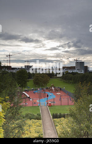 Thames Barrier Park, Silvertown, London, UK. 14th August 2017. UK Weather: Cloudy sky after dry summers day in London. - Stock Photo