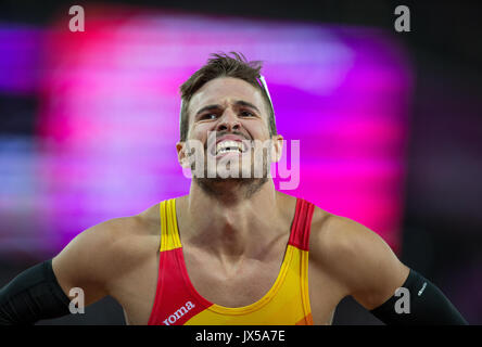 London, UK. 13th Aug, 2017. Oscar Husillos of Spain after the Men's 4x400 Metres Relay 5th place finish in the final - Stock Photo