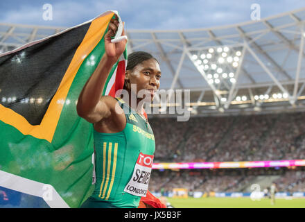 Caster SEMENYA of South Africa celebrates winning her Gold Medal in the Women's 800 metres Final during the Final - Stock Photo