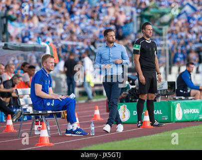 Berlin, Germany. 14th Aug, 2017. Schalke assistant coach Peter Perchtold, head coach Domenico Tedesco and 4th match - Stock Photo