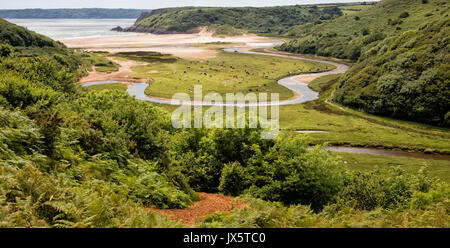 View from Pennard Castle over Pennard Pill and Threecliff Bay on the coast of the Gower Peninsula in South Wales - Stock Photo