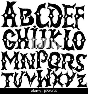 Gothic Letters Vintage Hand Drawn Font Western Vector Grunge Lettering