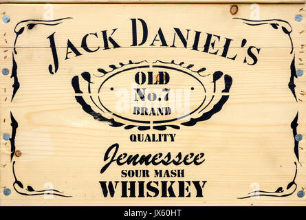 Lettering on wooden whisky crate containing Jack Daniel's whiskey Old No. 7, brand of North American Tennessee whiskey, - Stock Photo