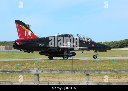 Hawk trainer for fast jets pilots at RAF valley on Anglesey north wales - Stock Photo