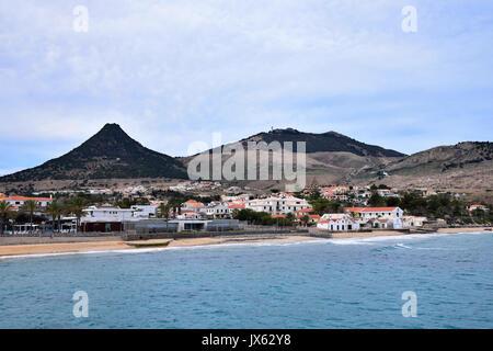 View of the beach and town of Vila Baleira on the Portuguese Atlantic island of Porto Santo, Madeira - Stock Photo