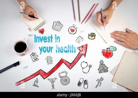 Invest in your health concept. Healty lifestyle background. The meeting at the white office table. - Stock Photo