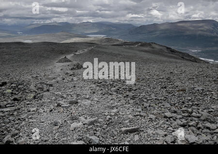 Grey landscape at the top of the besseggen route in the national park Jotunheimen - Stock Photo