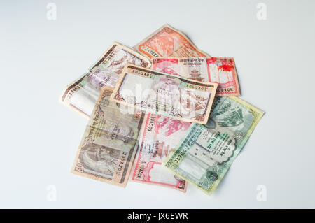 Indian Money - Nepal Rastra Bank Currencies - Nepal Rupees Banknotes - Stock Photo