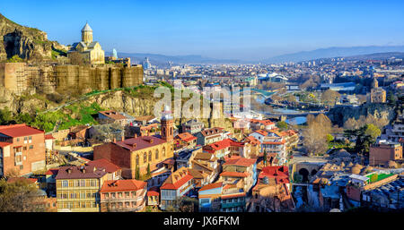 Panoramic view of Tbilisi Old Town with Narikala Fortress, Georgia - Stock Photo