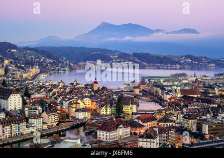 Aerial view of the Old Town of Lucerne, wooden Chapel bridge, stone Water tower, Reuss river, Rigi mountain and - Stock Photo