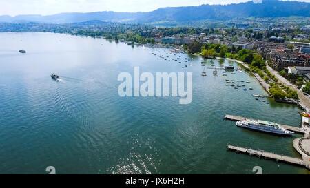 Aerial View Of Lake Zurich City In Switzerland Europe - Stock Photo