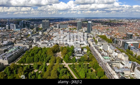 Aerial View Financial District of Brussels Cityscape in Belgium feat, Business Buildings and Skyscrapers with Brussels - Stock Photo
