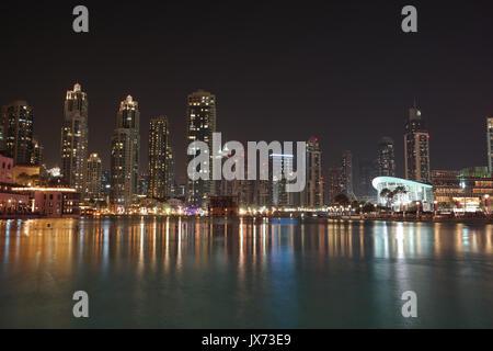 Souk Al Bahar shopping center at nighttime - Stock Photo