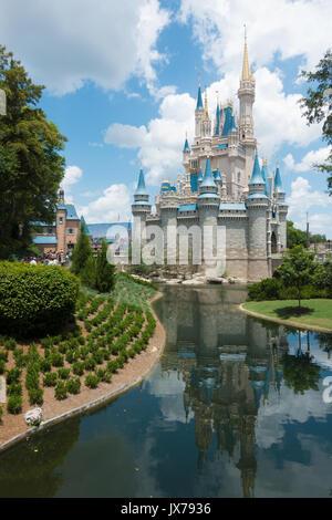The side of Cinderellas castle in Magic Kingdom, Orlando, Florida. - Stock Photo