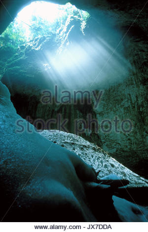Ghatarul Focul Via ice cave in the Bihor Mountains. - Stock Photo