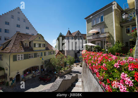 Old town of Meersburg with bear fountain and old castle - Meersburg, Lake Constance, Baden-Wuerttemberg, Germany, - Stock Photo